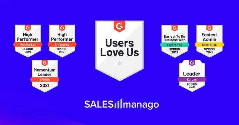 """""""Users Love Us"""" – SALESmanago po raz kolejny zostało wyróżnione odznakami """"High Performance"""" w kategorii Marketing Automation dla firm Enterprise, w najnowszym reporcie G2 Crowd."""